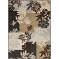 Floral Squares Chocolate Brown Rug (7'9 x 11'2)