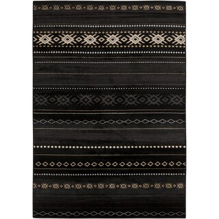 Meticulously Woven Black/Tan Southwestern Aztec Nomad Rug (5'3 x 7'6)