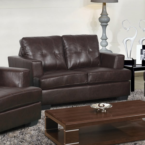 Nova Dark Brown Bonded Leather Love Seat Overstock