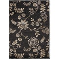 Coffee Floral Charcoal Grey Rug (2' x 3')