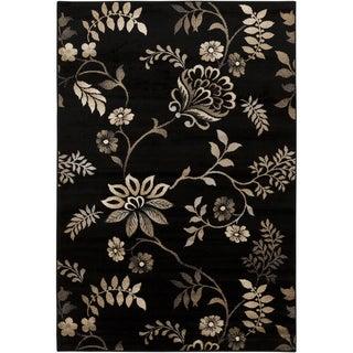 Caviar Black Floral Rug (5'3 x 7'6)