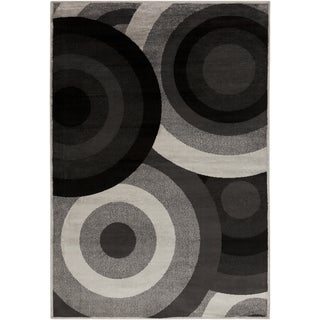 Black Circles Coal Black Area Rug (7'9 x 11'2)