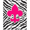 Bling Fleur De Lis with Hot Pink Zebra Background Print Art