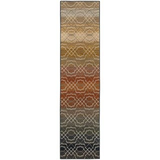 Indoor Grey Multicolored Geometric Area Rug (1'10 X 7'6)