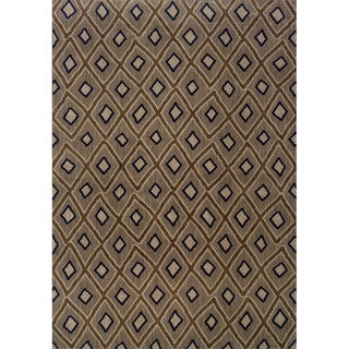 Indoor Grey and Brown Geometric Area Rug (9'10 X 12'10)