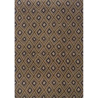 Indoor Grey and Brown Geometric Area Rug (3'10 X 5'5)
