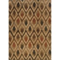 Indoor Gold and Beige Geometric Area Rug (6'7 X 9'6)