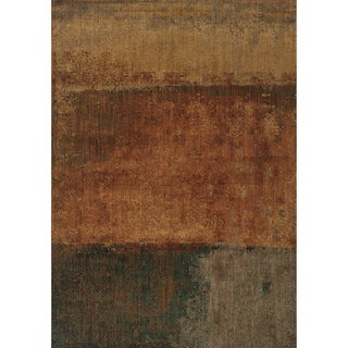 Indoor Orange Multicolored Abstract Area Rug (6'7 X 9'6)