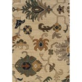 Indoor Ivory and Grey Tribal Print Area Rug (5'3 X 7'6)