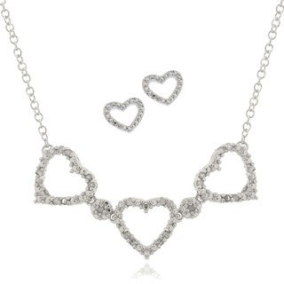 Finesque Silver Overlay 1/4ct TDW Diamond Heart Jewelry Set (I-J, I2-I3)