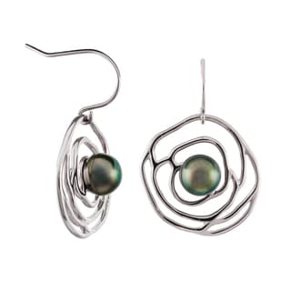 Pearlyta Sterling Silver Black Tahitian Pearl Flower Design Earrings (9-10 mm) with Gift Box
