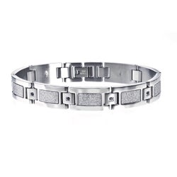 Stainless-Steel Men's Black Diamond Accent Link Bracelet