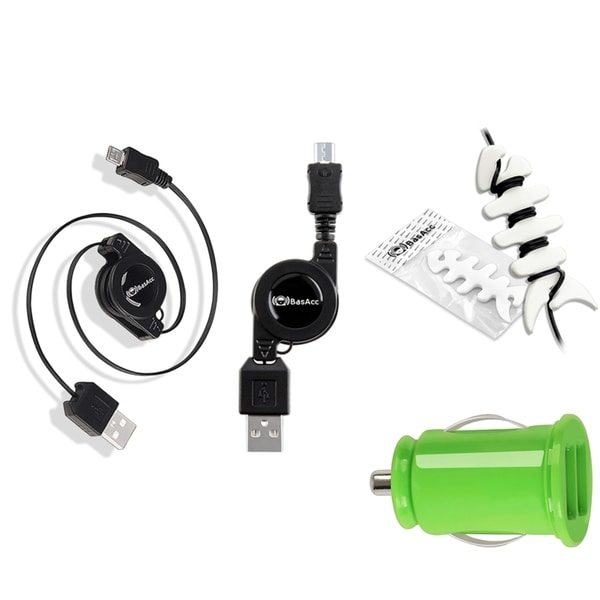 BasAcc Green USB Charger/ Retractable Micro USB Cable/ Headset Wrap