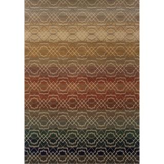 Indoor Grey Geometric Lattice Multicolored Area Rug (7'8 X 10'10)