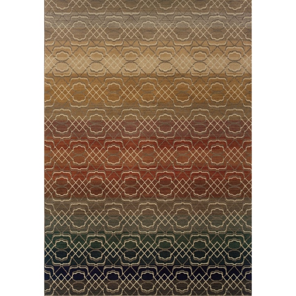 Indoor Grey Geometric Lattice Multicolored Area Rug (7'8 X 10'10)