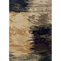 Indoor Blue and Ivory Abstract Area Rug (6'7 X 9'6)