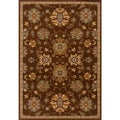 Indoor Brown Oriental Print Wool Blend Area Rug (5'3 X 7'6)