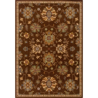 Indoor Brown Oriental Print Wool Blend Area Rug (6'7 X 9'6)