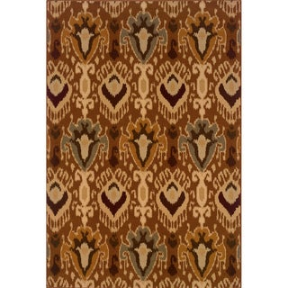 Brown/Gold Oriental Area Rug (6'7 x 9'6)