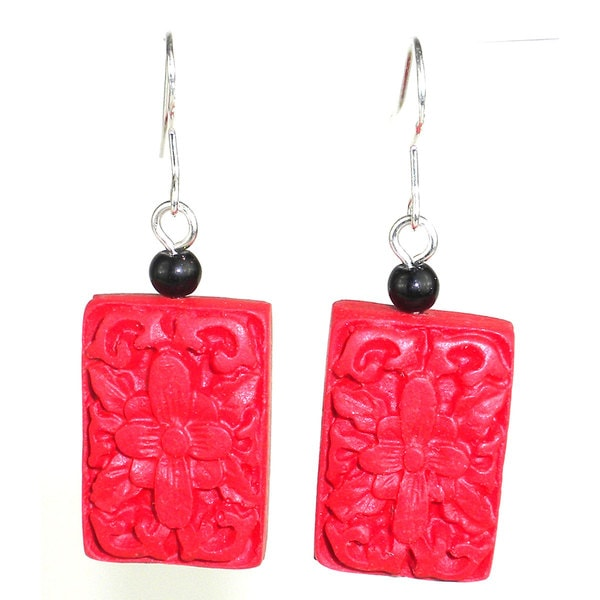 Handmade Large Carved Red Wood Bead Earrings (China)