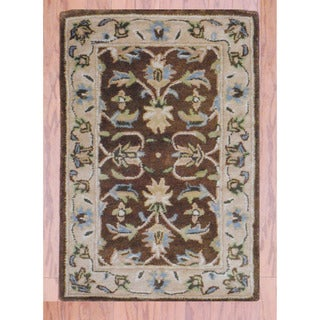 Indo Hand-tufted Mahal Brown/ Beige Wool Rug (2' x 3')