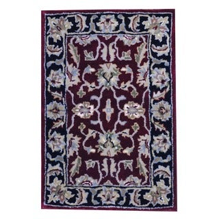 Herat Oriental Indo Hand-tufted Mahal Red/ Black Wool Rug (2' x 3')