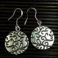 Handmade Silver Round Floral Textured Earrings (China)