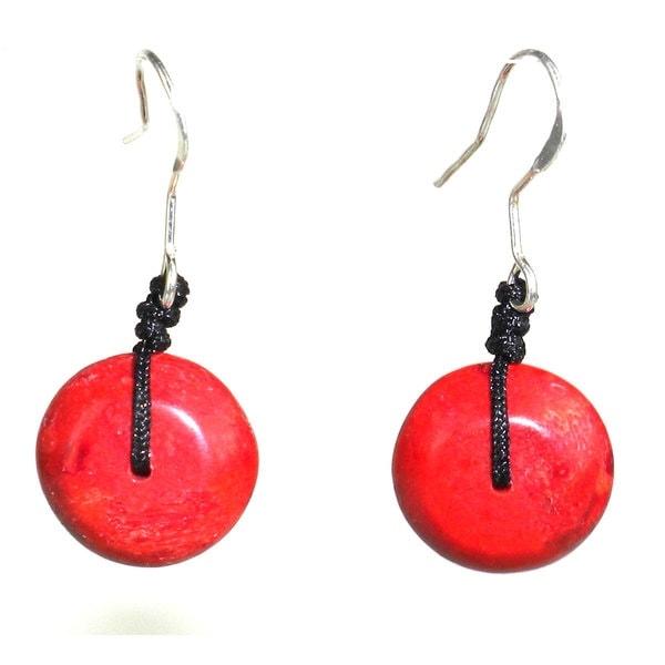 Handcarved Red Wood Pebble Earrings (China)