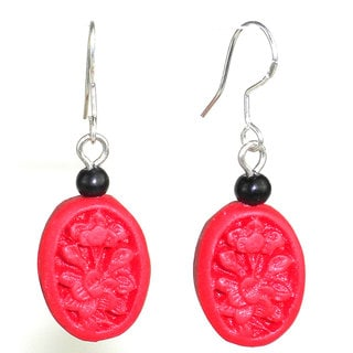 Handmade Carved Red Wood Bead Earrings (China)