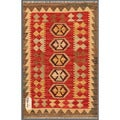 Afghan Hand-knotted Mimana Kilim Red/ Brown Wool Rug (2' x 3'1)