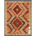 Afghan Hand-knotted Mimana Kilim Ivory/ Red Wool Rug (2&#39; x 2&#39;7)