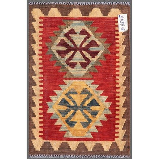 Afghan Hand-knotted Mimana Kilim Red/ Brown Wool Rug (1'11 x 2'11)
