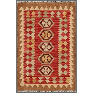 "Afghan Hand-Knotted Mimana Kilim Red/Brown Wool Accent Rug (2'1"" x 3'1"")"