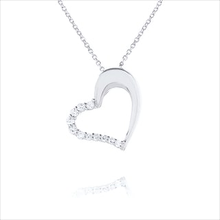 Blue Box Jewels Rhodiumplated Silver Cubic Zirconia Open Heart Necklace