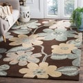 Handmade Bella Brown Wool and Viscose Rug (5' Square)