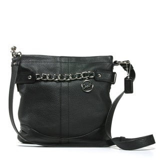 Coach Chain Strap Black Leather Crossbody Bag