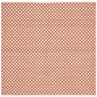 Hand-loomed Moroccan Orange Cotton Rug (4' Square)