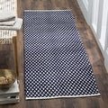 Hand-loomed Moroccan Navy Cotton Rug (2'3 x 7')
