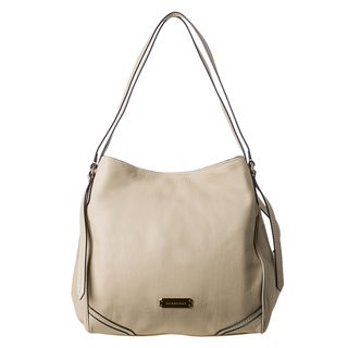 Burberry 'Canterbury' Medium Beige Pebbled Leather Saddle Stitch Tote
