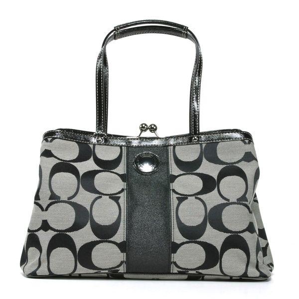 Coach Black and White Signature Printed Front Stripe Tote Bag