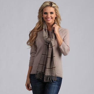 Peach Couture Brown Houndstooth Plaid Scarf