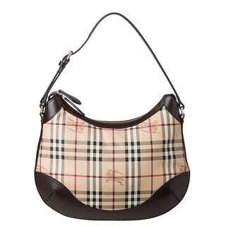 Burberry Medium Haymarket Check Leather Trim Hobo Bag