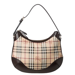Burberry Medium Haymarket Check Leather Trim Hobo Bag