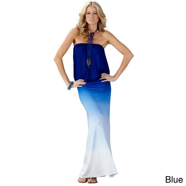 Elan Women's Maxi Strapless Blouse Bodice Dress