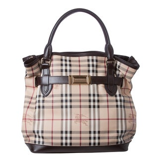Burberry 'Golderton' Medium Haymarket Leather Trim Tote Bag