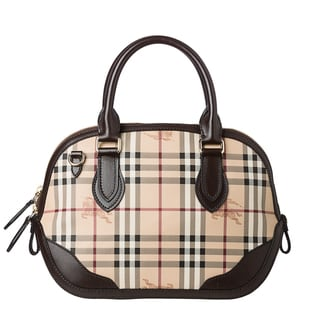 Burberry &#39;Orchard&#39; Small Haymarket Check Leather Trim Satchel Bag
