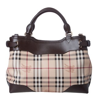 Burberry 'Hepburm' Small Haymarket Calf Leather Trim Tote Bag