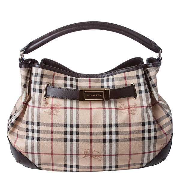 Burberry 'Willenmore' Medium Haymarket Leather Trim Hobo Bag