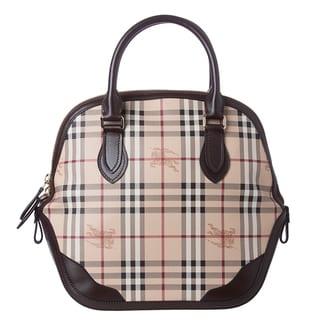 f97a7da2666 Burberry  Orchard  Medium Haymarket Check Leather Trim Satchel Bag ...