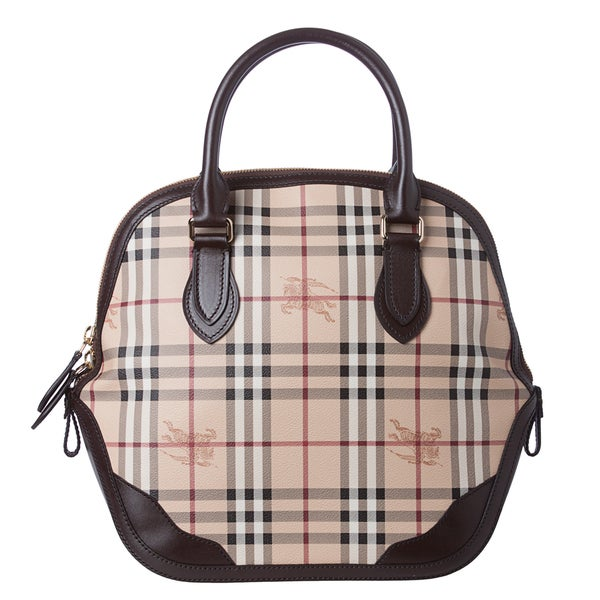 Burberry 'Orchard' Medium Haymarket Check Leather Trim Satchel Bag